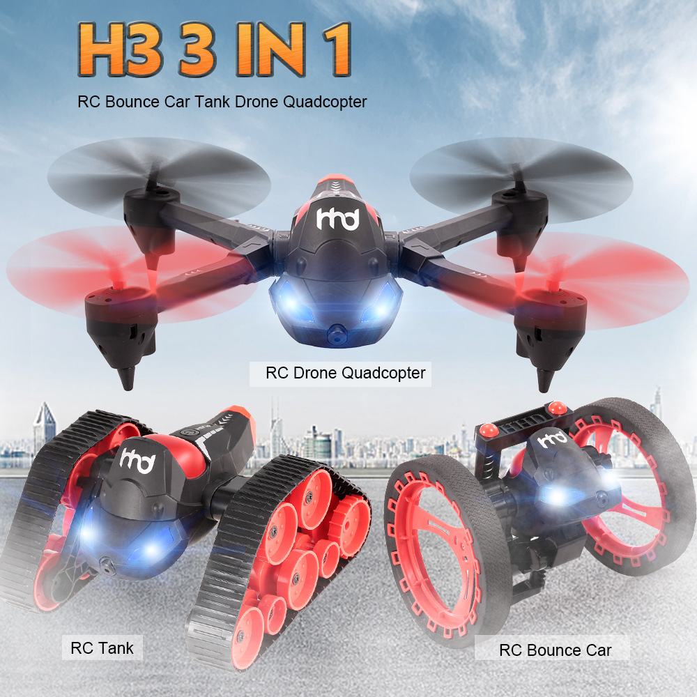 H3 2.4GHz 3in1 RC Car 480P Wifi FPV Camera Bounce Tank Drone with Camera G-sensor One Key Return Quadcopter RC Toy Kids Gifts