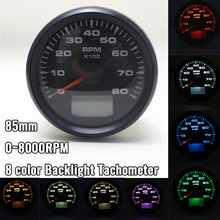 85mm Tachometer 0~8000RPM 8 color Backlight Vessel tacho Gauge With Hourmeter Truck Car Boat Auto Rev Counter цена 2017