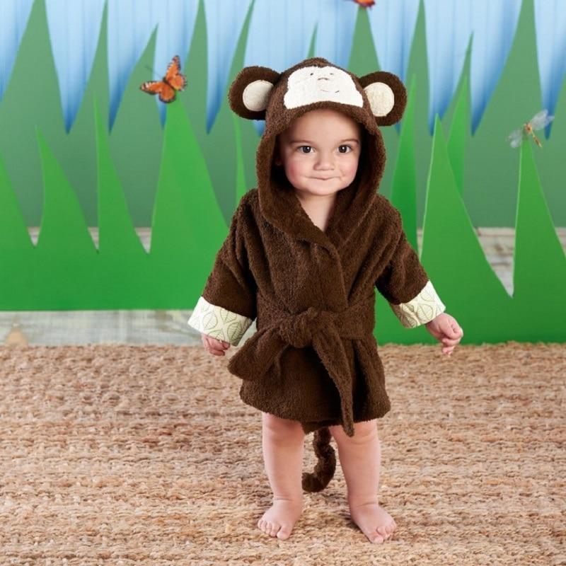 Monkey Newborn Bathrobe Brown Baby Bath Towels Children Hooded beach towel Newborn Blankets Hoodie Bathing Towel wrap envelope