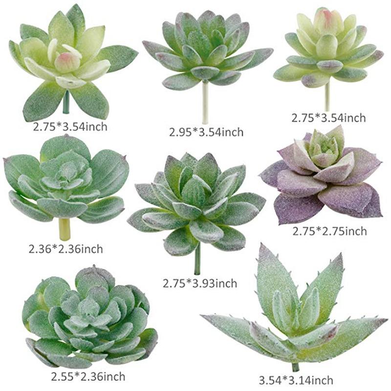 Image 4 - 16pcs Artificial Succulent Flocking Plants Mini Fake Succulents Plant for Lotus Landscape Decorative Garden Arrangement DecorArtificial Plants   -
