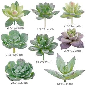 Image 3 - APRGARDEN 16pcs Artificial Succulent Mini Fake Flocking Plants for Lotus Landscape Decorative Garden Arrangement Home Desk