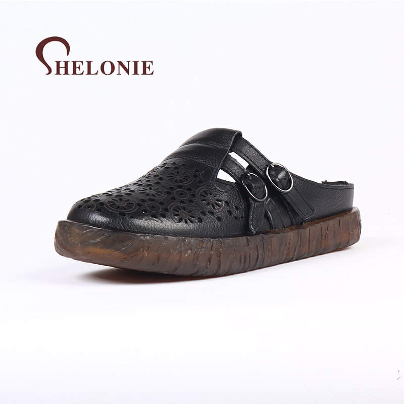 shelonie Genuine Leather Women Shoes Handmade Casual leather Shoes Soft Casual Women Slippers Sandals Shoes 2018 New 2018 new high end leather comfortable feet sandals classic sandals handmade leather slippers handmade leather slippers