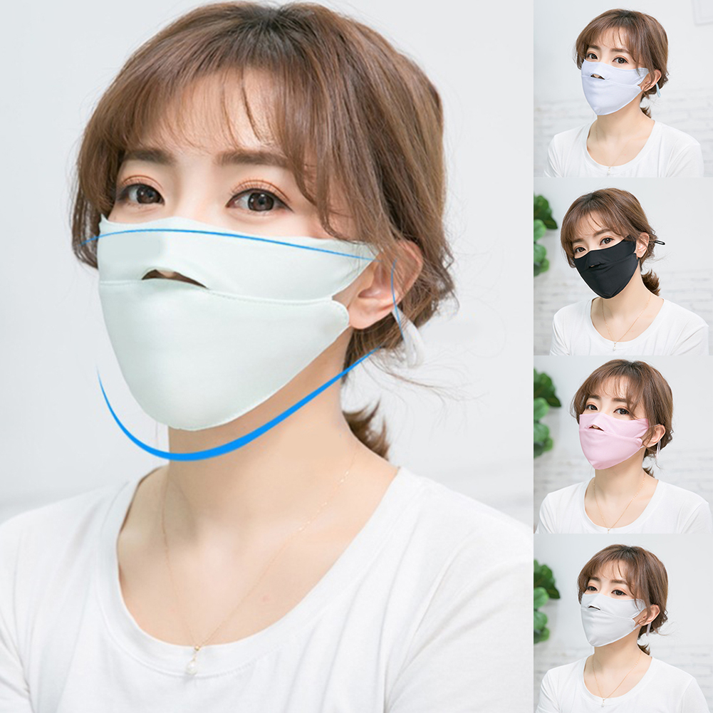 Women Summer Ice Silk Thin Sunscreen Open Nose Mouth Mask Cycling Windproof Solid Color Washable Adjustable Respirator