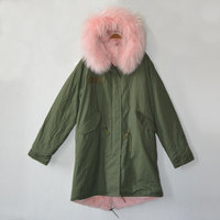 Customizable long style light pink army green winter parka