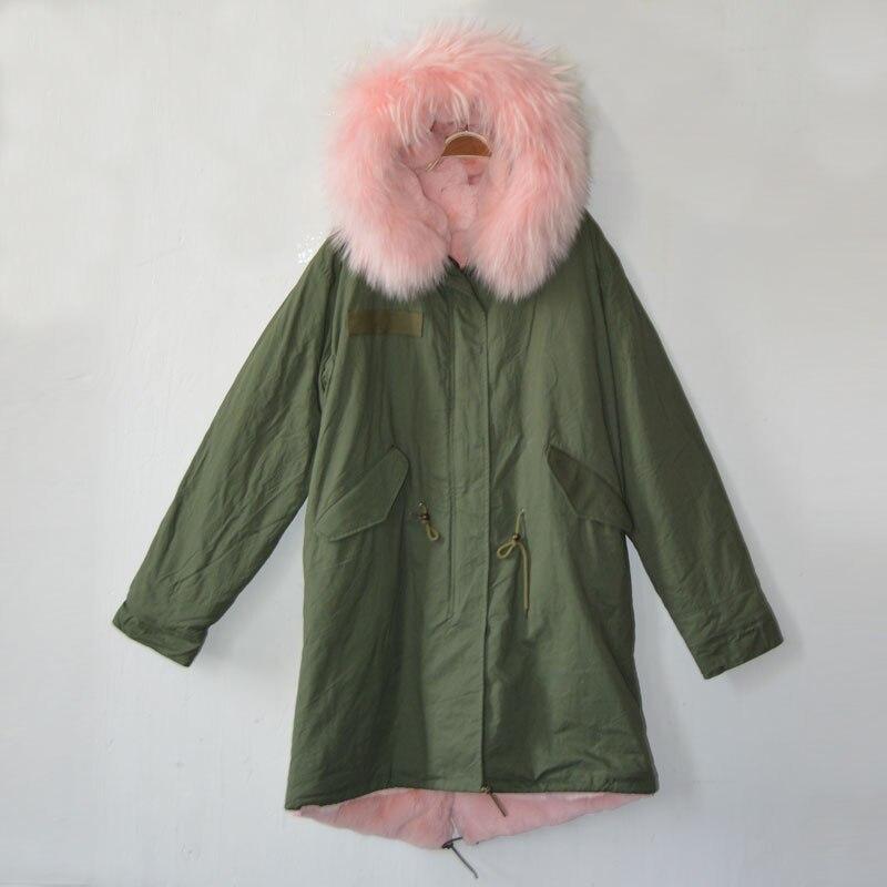 Customizable long style light pink army green winter parka