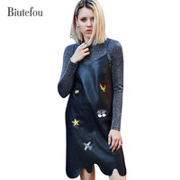Biutefou Brand 2017 Streetwear New Autumn Women V Neck Character Embroidery PU Suspender Leather Dresses Fashion