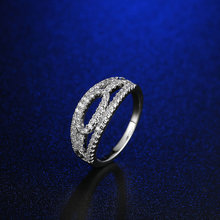 FYM Brand  New Arrival Luxury Design Classic Ring Round Silver Zircon Crystal Fashion Women Finger Rings for Party Gift Wedding fym new luxury classic ring flower gold color zircon crystal fashion women cz diamond finger rings for party gift wedding