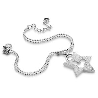High Quality Sterling Silver Jewelry Solid 925 Silver Star Pendant Bracelet For Girl Woman Wholesale Charm