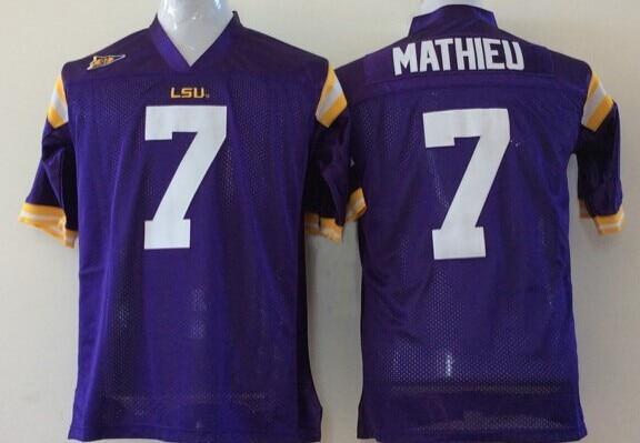 #7 Honey Badger Jersey Tyrann Mathieu Jersey LSU Tigers Cheap American College Football Jerseys Authentic Stitched Logos