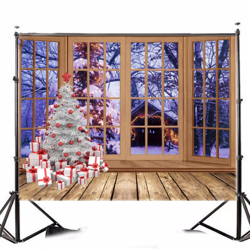7X5FT Vinyl Photography Background Christmas Tree Windows photographic Backdrop for Studio Photo Prop cloth 2.1x1.5m waterproof
