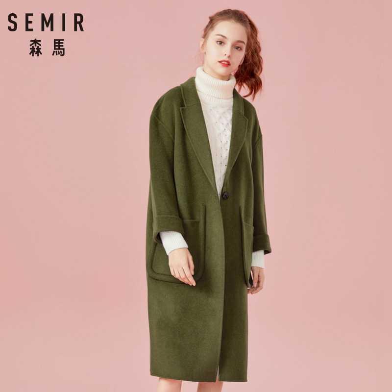 SEMIR ผู้หญิงผ้าขนสัตว์ยาวผสม Trench ผู้หญิงไหล่ลดลงเสื้อ Turn-Down คอยาว Trench ฤดูหนาวหญิง coats Outwear