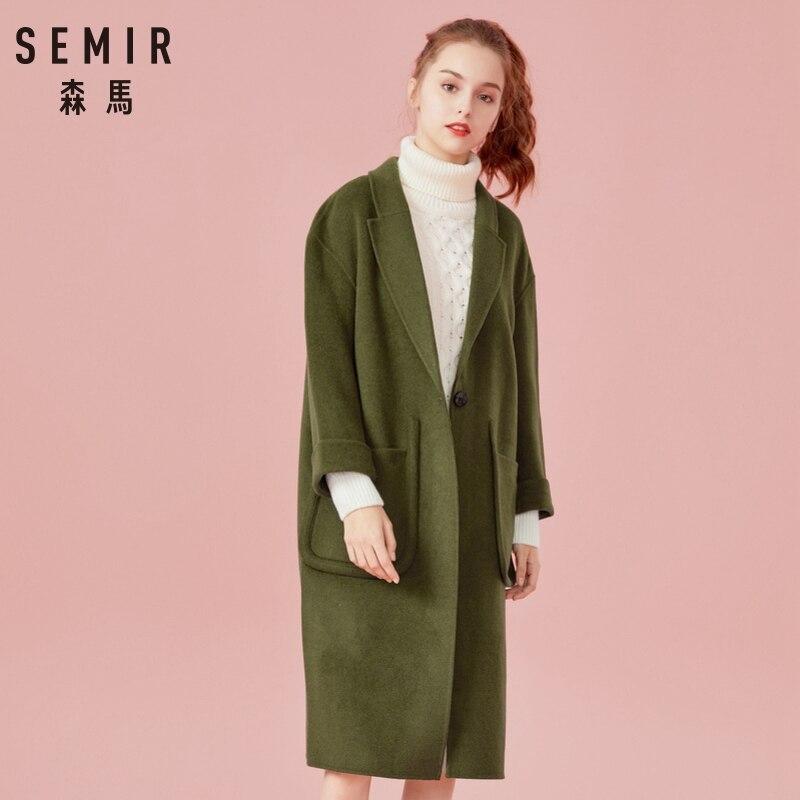 SEMIR Women Long Wool-Blend trench Women Dropped Shoulder Coats Turn-Down Collar Long Sleeve trench Winter Female Coats Outwear