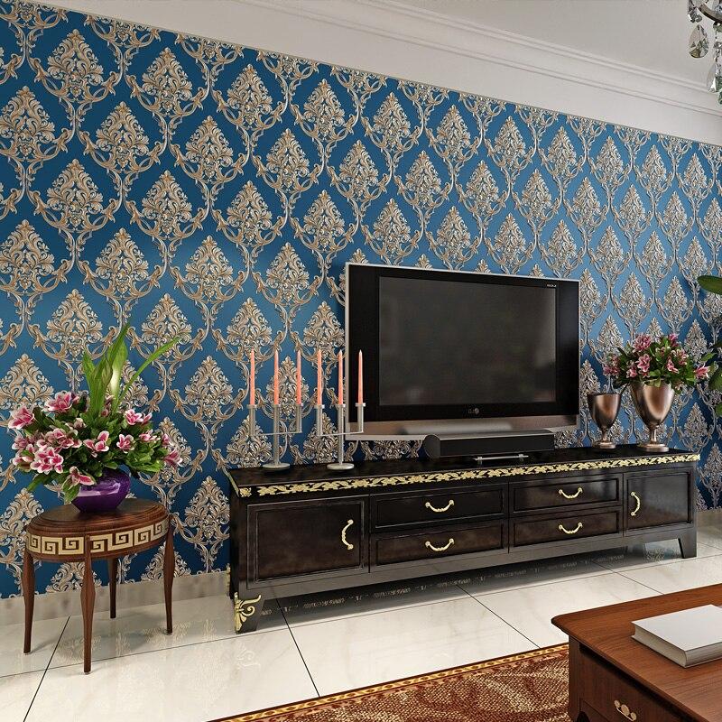 Papier peint papier peint damassé européen décor à la maison fleur bleu papier peint rouleau pour salon chambre murs Mural 3D behang