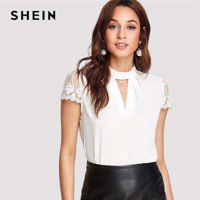 SHEIN Abbigliamento Da Lavoro Elegante Office Lady Manica Corta V Cut Collo  A Contrasto Del Manicotto bf54e7362fc