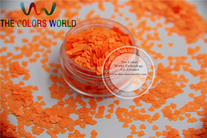 Solvent resistant - Neon  Orange Red Color heart-shaped Glitter Spangles for Nail Polish and Other DIY decoration 1Pack =50g powerball neon red pro кистевой тренажер со счетчиком