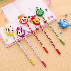 Image 5 - 30 pcs/lot école étudiants prix enfants dessin animé Animal Style HB en bois crayon hochet tambour jouet cadeau danniversaire
