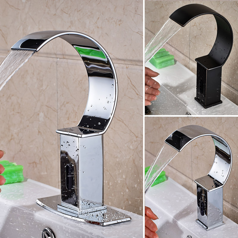 Deck Mount Waterfall Bathroom Automatic Hands Touch Free Sensor Faucets Water Saving Inductive Electric Water Tap Battery Power infos bathroom led waterfall water tap
