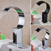 Deck Mount Waterfall Bathroom Automatic Hands Touch Free Sensor Faucets Water Saving Inductive Electric Water Tap Battery Power