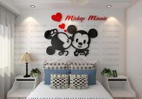 3D Cute Crystal Acrylic Three Dimensional Wall Stickers With Image Of Mickey Minnie Sofa Wall Tv