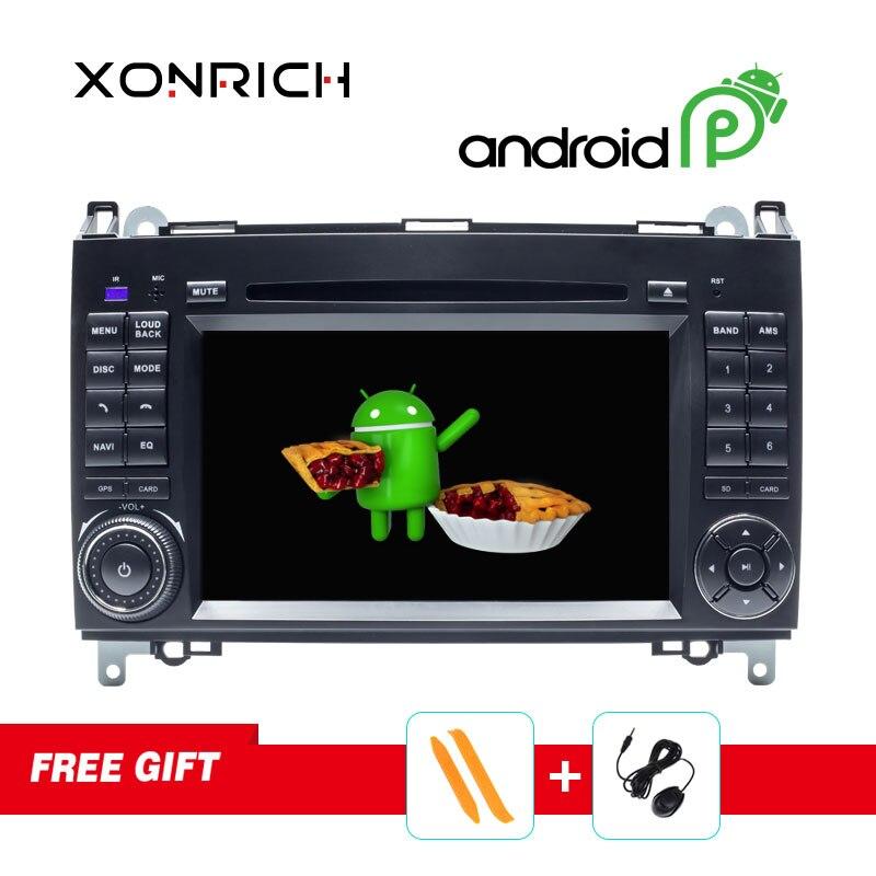 Lecteur multimédia DVD de voiture 2 Din Autoradio Android 9.0 pour Mercedes/Benz/Sprinter/B200/classe B/W245/B170/W169 stéréo GPS Navi DSP