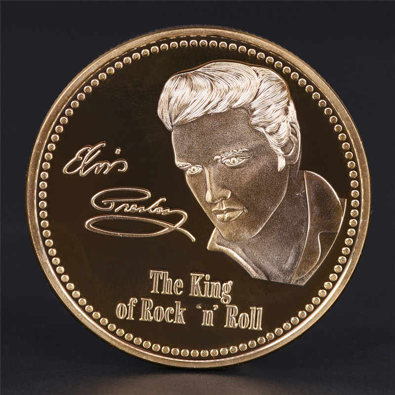 Elvis Presley Commemorative Coin 1935-1977 The King of N Rock Roll Gold Commemorative Coin Gift
