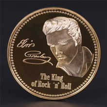 Elvis Presley Commemorative Coin 1935-1977 The King of N Rock Roll Gold Commemorative Coin Gift(China)
