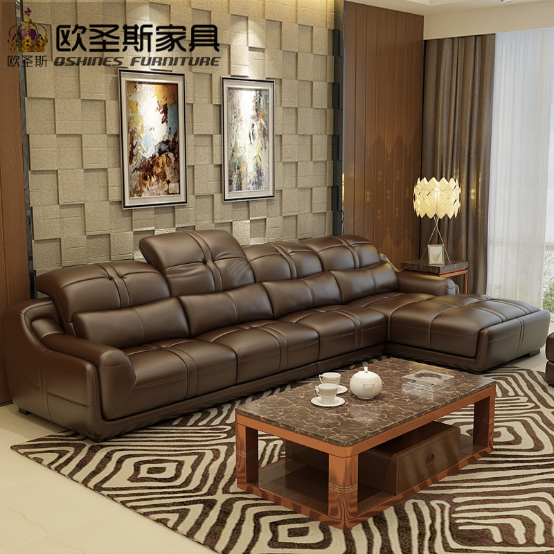 Brown Leather Sofa Set Contemporary Elegant Designs Modern L Shape Corner Foshan Ocs L288 In Living Room Sofas From