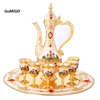 European Cup Wedding Decor Ideas Wine Sets Gold Plate Tea Sets Bar Hotel Coffee Tea Sets 8pcs Include 1pc Pot + 1pc Tray + 6pc