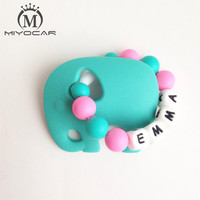 Personalised Any Name Silicone Elephant Teething Ring No BPA Food Grade Safe Silicone Teether Baby Teething
