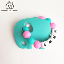 Personalised –Any name Silicone Elephant Teething Ring No BPA food grade safe Silicone Teether Baby Teething Toy Chew Beads