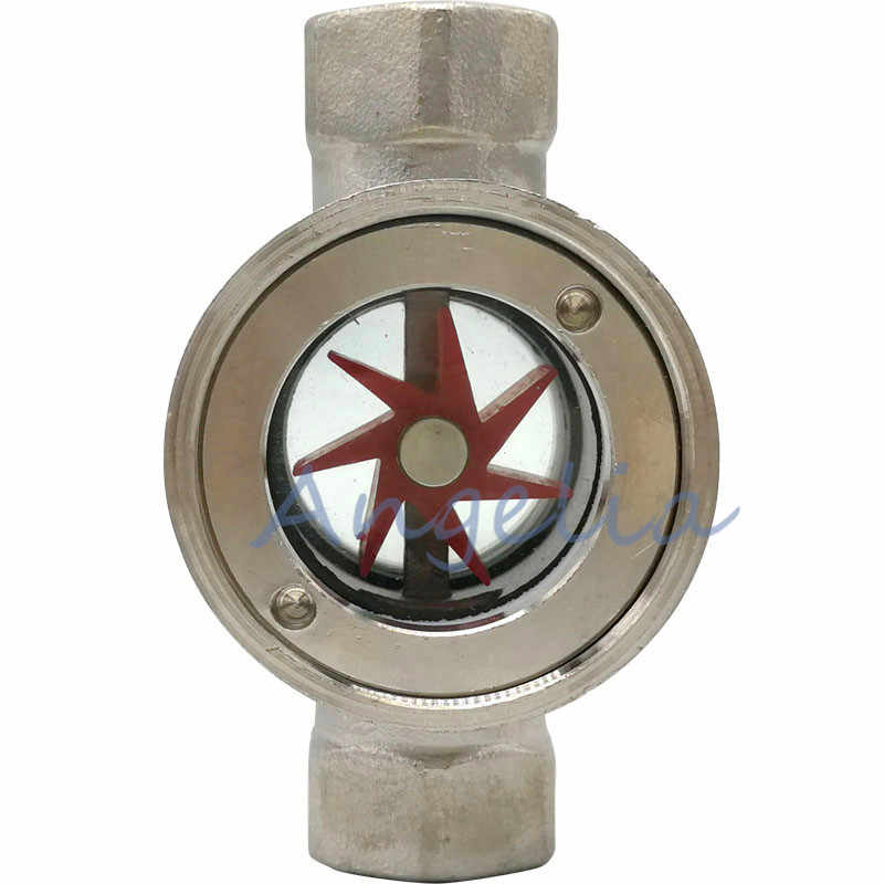"1/2"",3/4"",1"" BSP DN15 DN20 DN25 Stainless Steel 304 Sight Water Flow Indicator With Concentric Plastic Impeller"