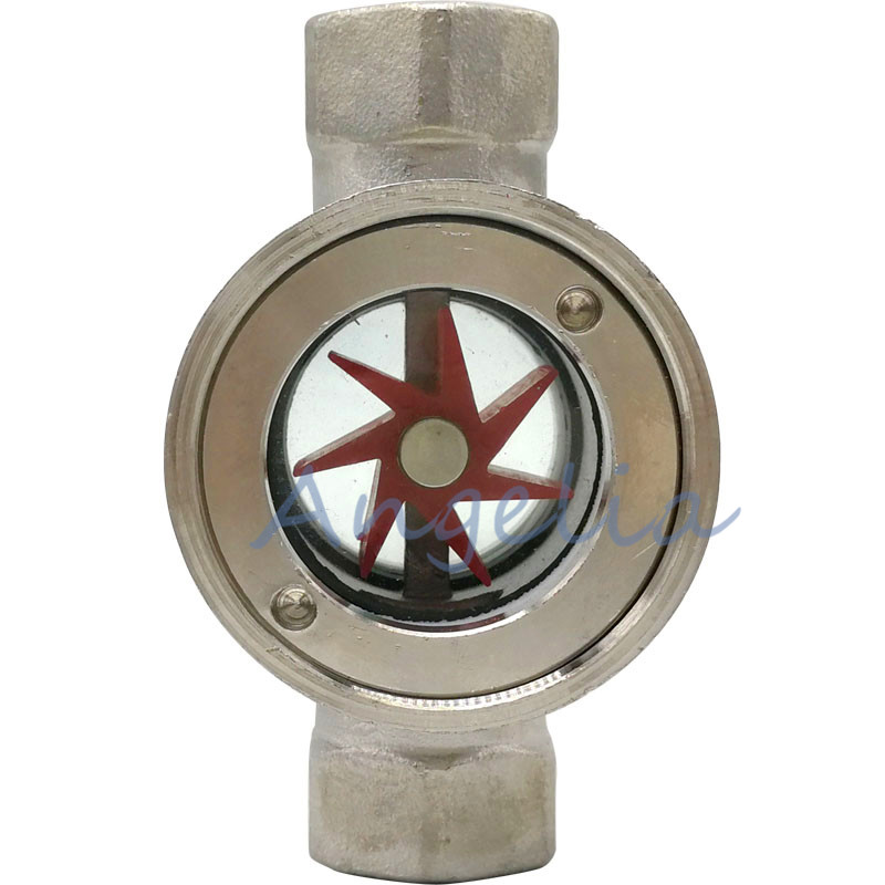 1/2,3/4,1 BSP DN15 DN20 DN25 Stainless Steel 304 Sight Water Flow Indicator With Concentric Plastic Impeller