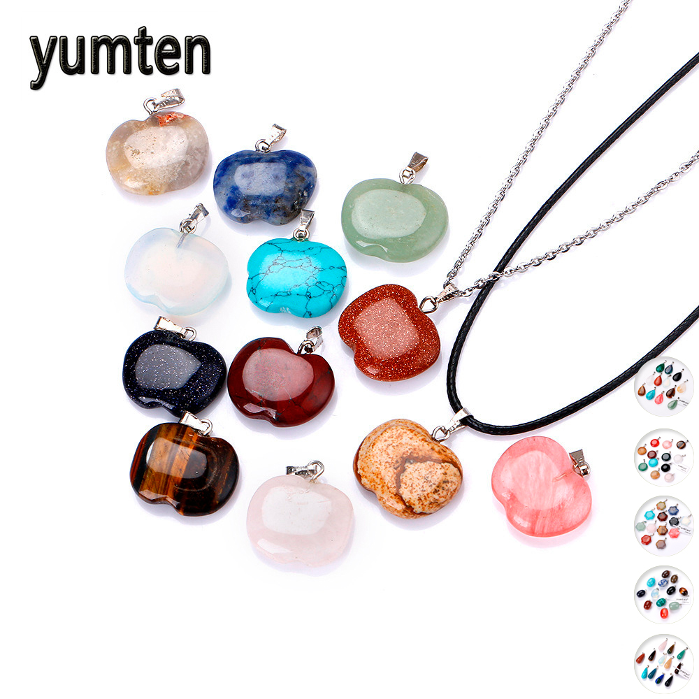 Yumten Natural Stone Pendant Crystal Gemstone Charms Small Women Necklace Jewelry Men Fashion Choker Bijoux Accessories Lot Bag