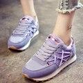 Nuevo Superior de La Venta 2017 del Otoño VENTA CALIENTE de Las Mujeres Manera de La Señora ocasional de Moda de Encaje Hasta Zapatillas de Deporte Respirables Los Zapatos Planos Del Ocio de Jogging G089