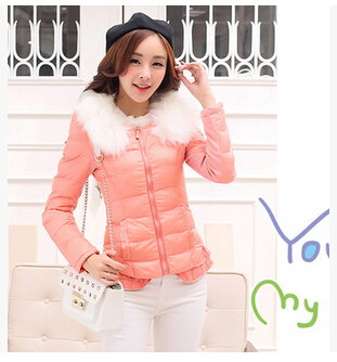 2014 women Korean version new fall winter clothes women's cotton jacket  fur collar thick warm Slim padded  NM29