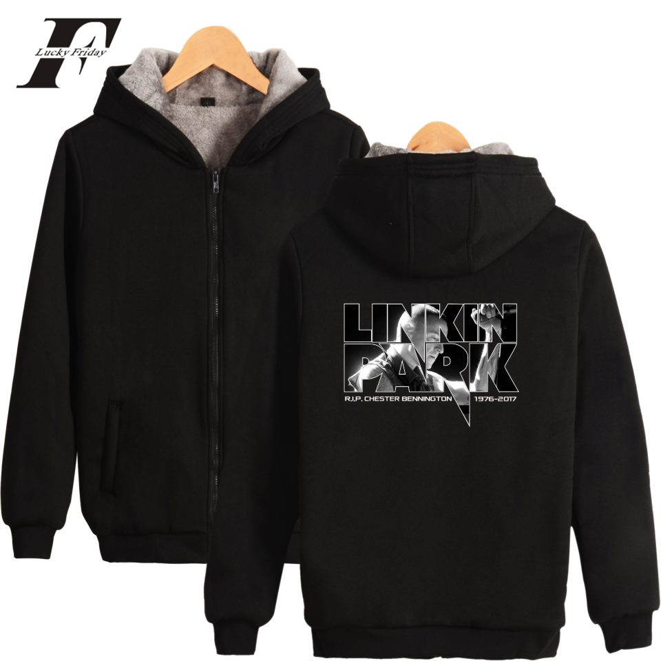 LUCKYFRIDAYF Linkin Park R.I.P Chester Fans Club Winter Men Hoodie Hiphop Zipper Pink Women Hoodies Thick Warm Sweatshirt 2017