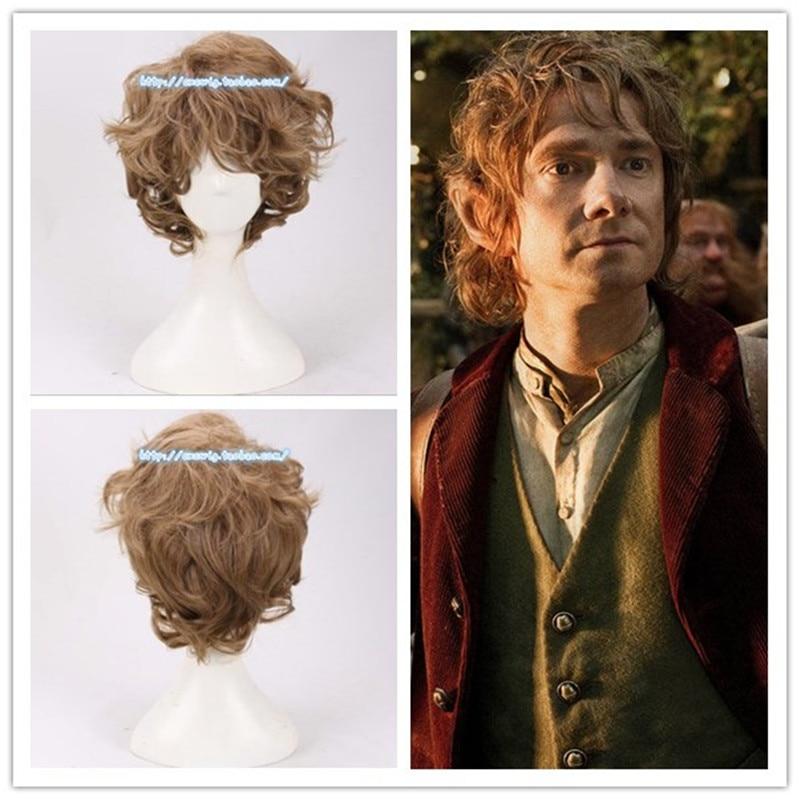 Film Le Seigneur des Anneaux Bilbo Baggins perruque Brun Bouclés Cheveux Courts Jeu de Rôle Costumes