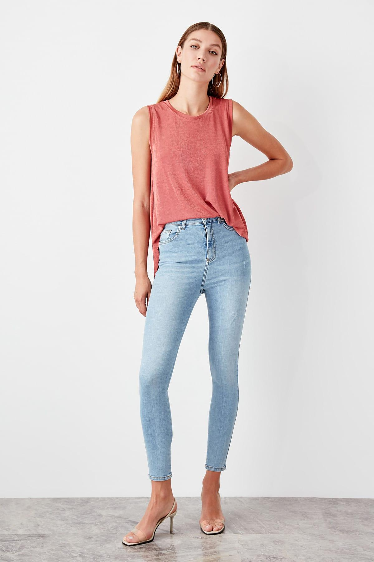 Trendyol Blue Normal Waist Skinny Jeans TWOAW20JE0086