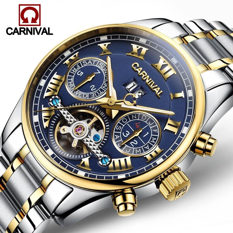 Tourbillon skeleton Automatic Clock CARNIVAL Brand Men Watch Mechanical Waterproof Wristwatch Mens Relogio Masculino Sapphire