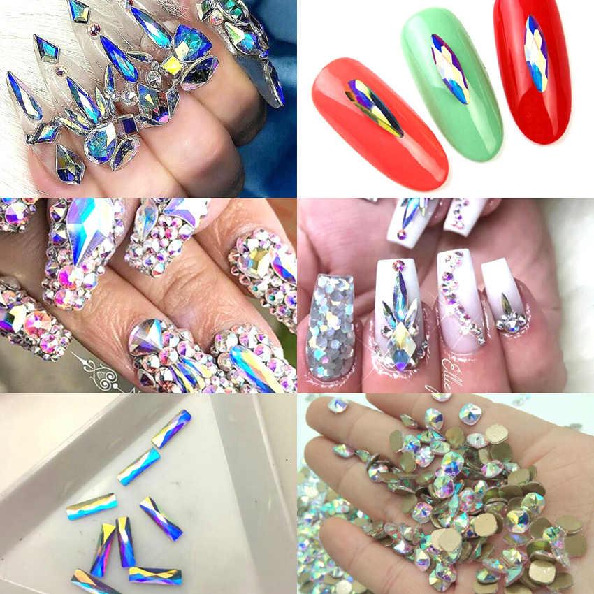 20pcs Nail Crystals Gems Rhinestones for Nails 3D Nail Art Decorations  Flatback Drop Glass Strass Stone 0ff22f6b6809