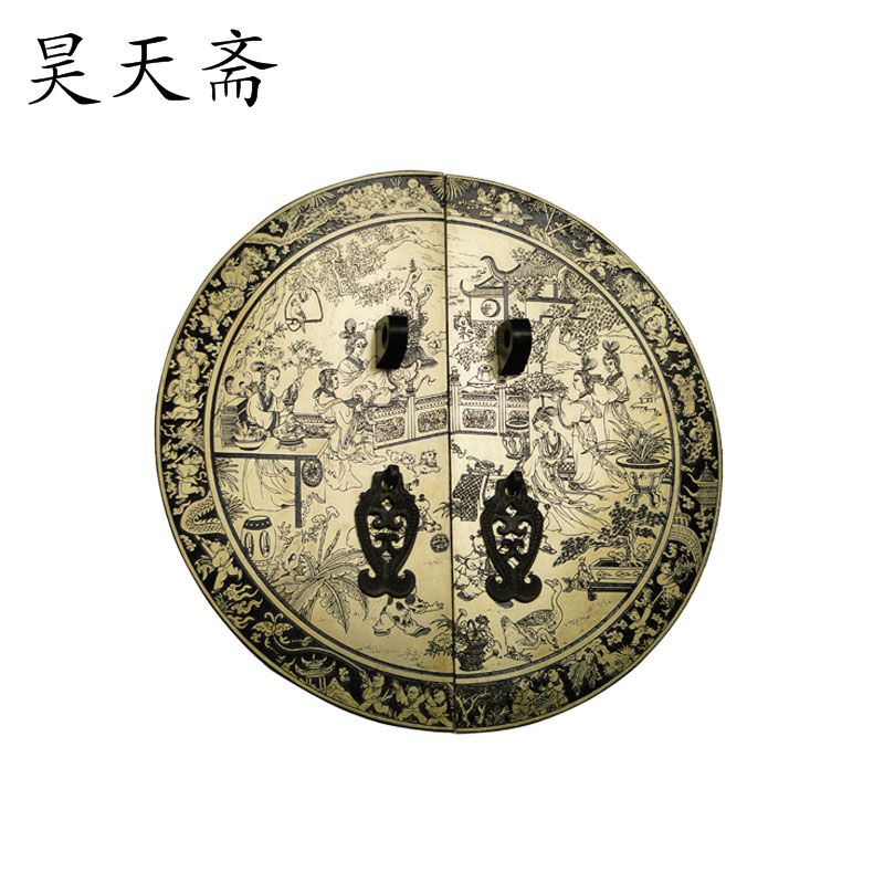 [Haotian vegetarian] Chinese antique copper door handle HTB-158 copper engraving handle 28cm round numbers [haotian vegetarian] antique copper door handle chinese handle htb 179 custom models diameter 14cm