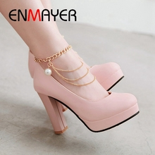 ENMAYER New Arrival  Basic Super High PU Zapatos Mujer Tacon Shoes Woman Round Toe Casual Solid Pumps Size 34-43 LY1656