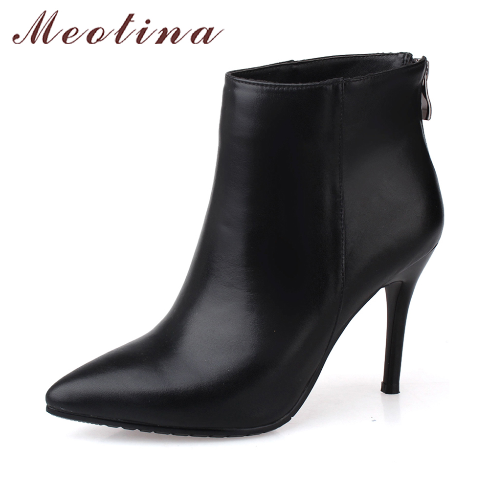 Meotina Genuine Leather Boots Women Ankle Boots High Heel Real Leather Boots Pointed Toe Stiletto Heels Shoes Autumn Red Black women pointed toe real genuine leather high heel ankle boots autumn winter wedding boot heels footwear shoes r7976 size 34 39
