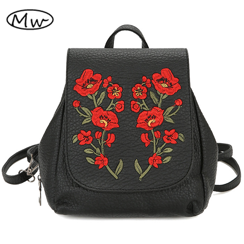 Moon Wood Vintage Embroidered Flowers Backpack Wash PU Leather Travel Shoulder Bag School Bags For Teenager