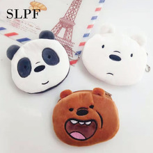 цена на SLPF Children Cute Plush Wallet Toy Brown Bear Polar Bear Panda Coin Bag Cartoon Mobile Phone Key Bag Girl Adult Kids Gift M23