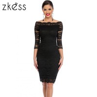 Zkess Womens Elegant Delicate Floral Lace Dress Casual Party Bodycon Special Occasion Bridemaid Mother Of Bride