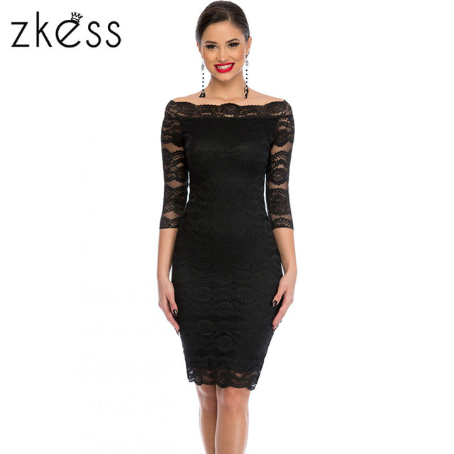 cbbf7d9f95 Zkess Womens Elegant Delicate Floral Lace Dress Casual Party Bodycon  Special Occasion Bridemaid Mother of Bride Dress LC61291