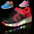 New hot sale da moda criança meninas meninos led luz roller skate shoes para crianças caçoa as sapatilhas com rodas