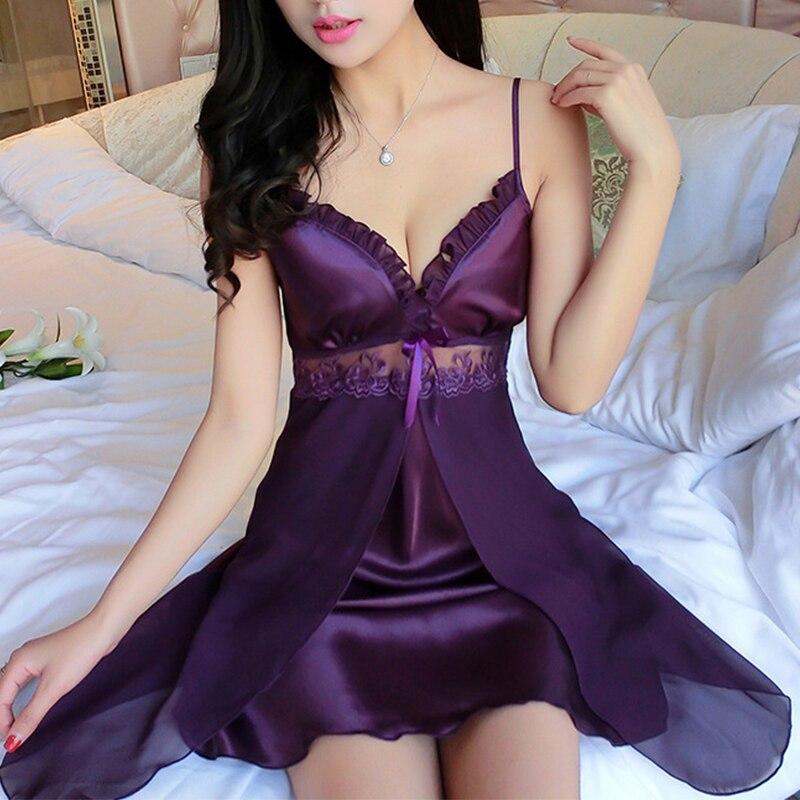 Women Ice Silk Pajamas Sexy Sleepwear Ladies Sleepwear