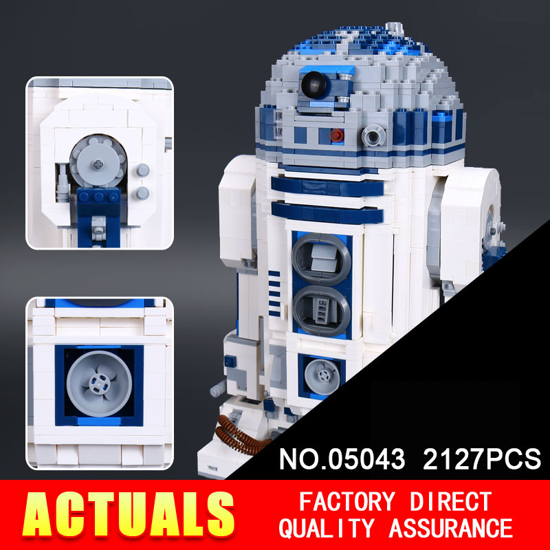 Lepin 05043 2127Pcs STAR Genuine Blocks The R2 Robot Set Out of print D2 Building Blocks Bricks Children Toys 10225 WARS new 2127pcs lepin 05043 star war series r2 d2 the robot building blocks bricks model toys 10225 boys gifts